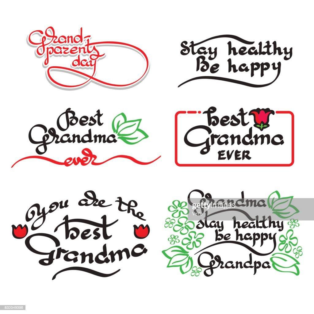 Grandma and grandpa handwritten lettering. Grandparents day set.