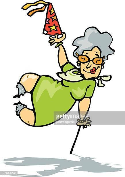 grandma celebrating her birthday - great grandmother stock illustrations