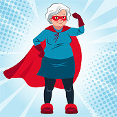 Grandma in superhero costume standing with arm flexed vector cartoon illustration. Smiling friendly confident Caucasian senior woman wearing red cape and mask. Lifestyle, active old age, health theme.