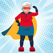 Grandma in superhero costume standing with arm flexed vector cartoon illustration. Smiling friendly confident Caucasian senior woman wearing cape and mask. Lifestyle, active old age, health theme.