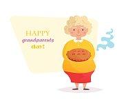 Grandma with pie. Vector