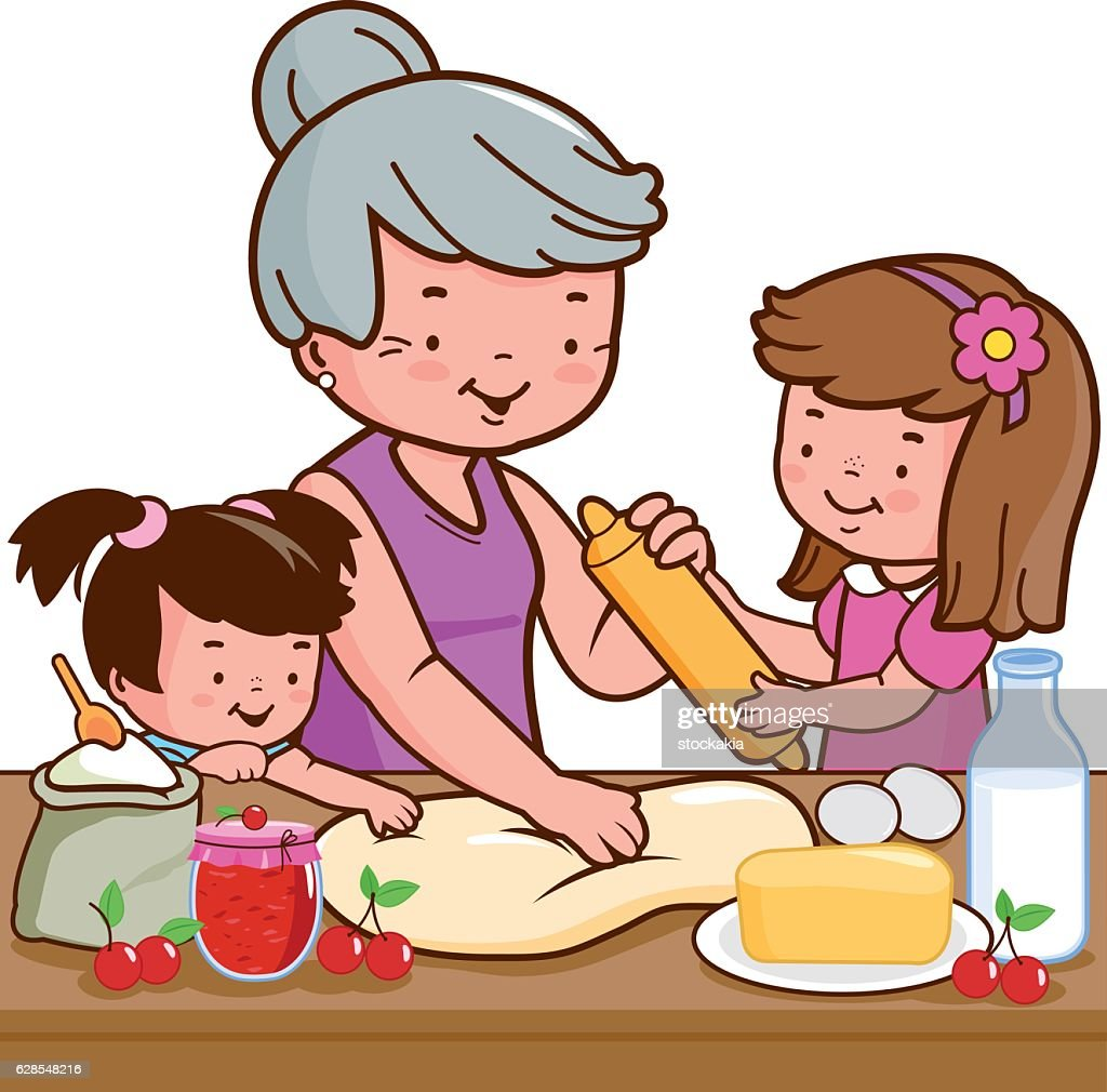 Grandmother and children cooking in the kitchen