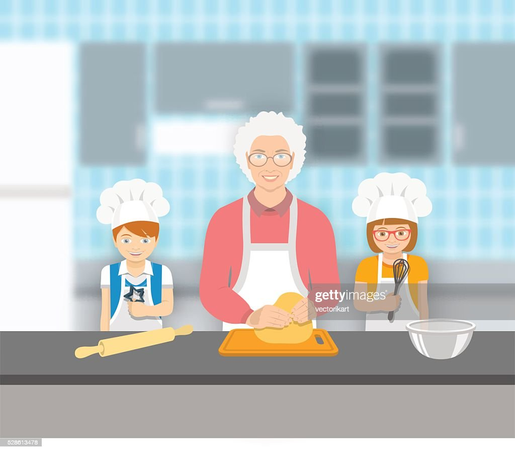 Grandmother and kids bake together at a kitchen