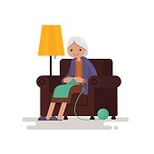 Grandmother knits sitting in a chair. Vector illustration