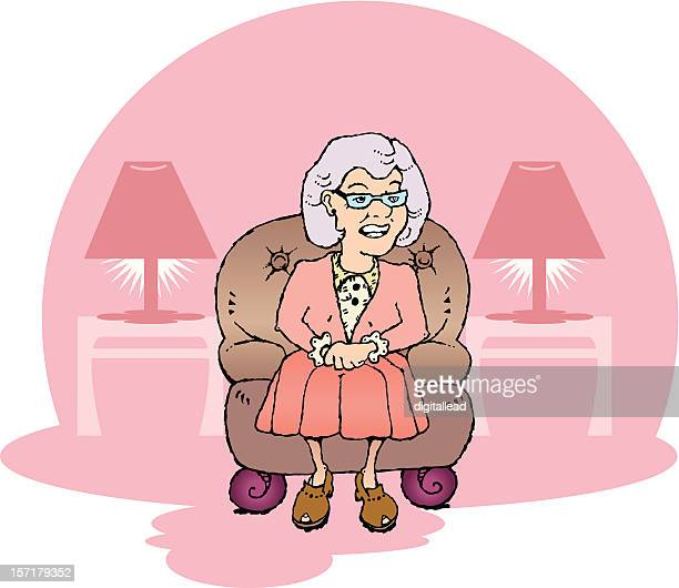 grandmother sitting in a leather chair
