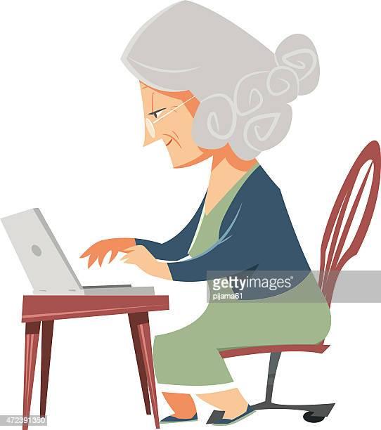 illustrations, cliparts, dessins animés et icônes de grand-mère - retraite