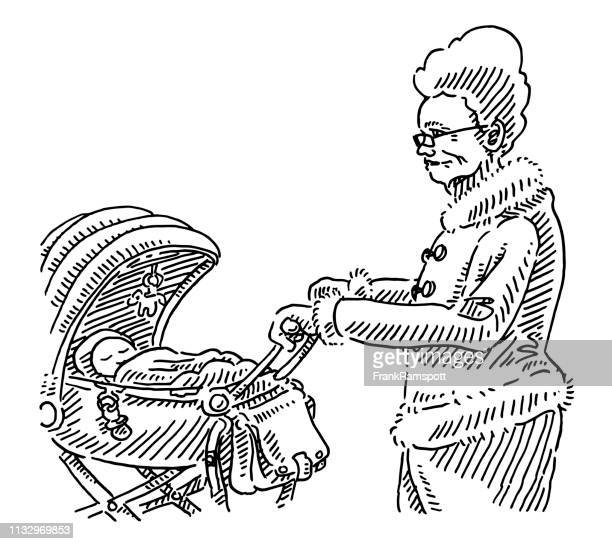 Großmutter Walking Baby Stroller Drawing