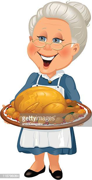 Grandmother with turkey dinner