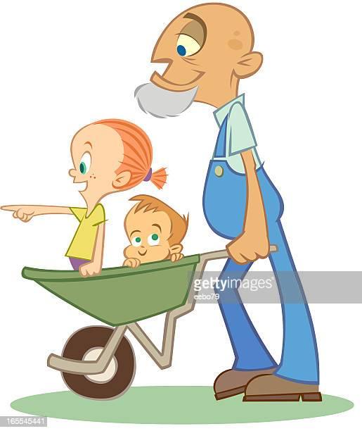 Niños en carretilla empujando Grandpa