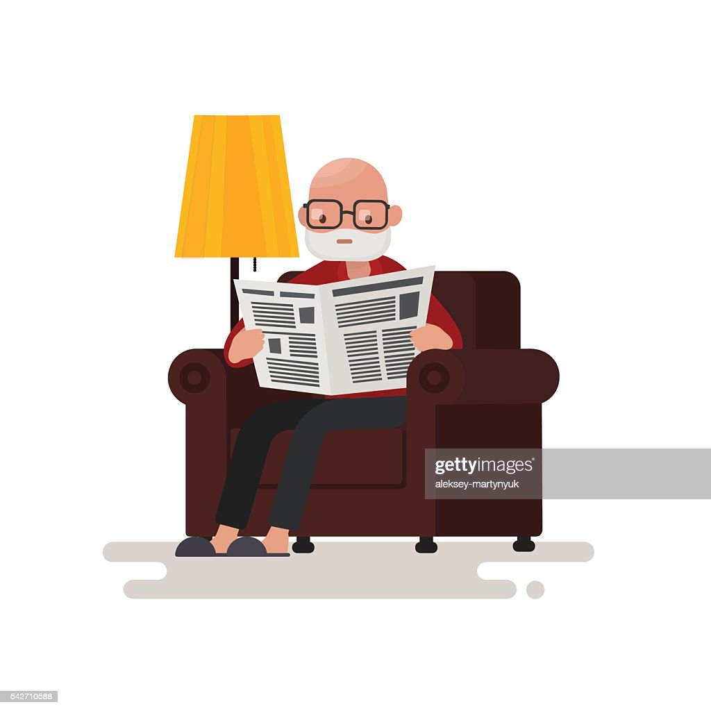 Grandpa reading the newspaper while sitting in a chair.