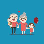 Grandparents and grandchildren. Happy grandparents