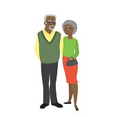 grandparents and isolated on white background