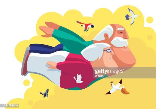 grandparents flying with birds - senior citizen clipart stock illustrations