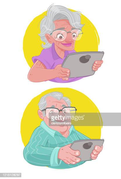 großeltern auf tablets - casa stock-grafiken, -clipart, -cartoons und -symbole