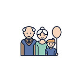 grandparents with grandson colored icon. Element of family icon for mobile concept and web apps. Colored grandparents with grandson icon can be used for web and mobile