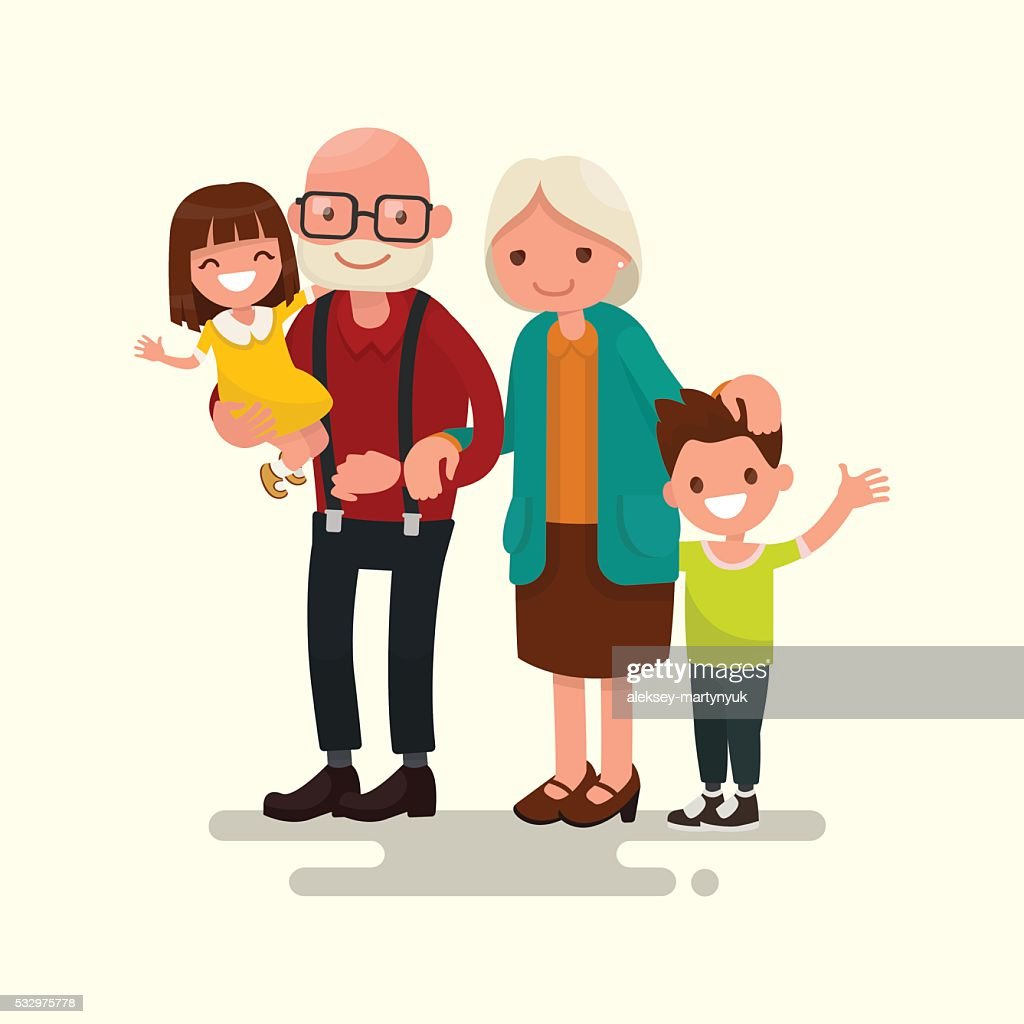 Grandparents with their grandchildren. Vector illustration