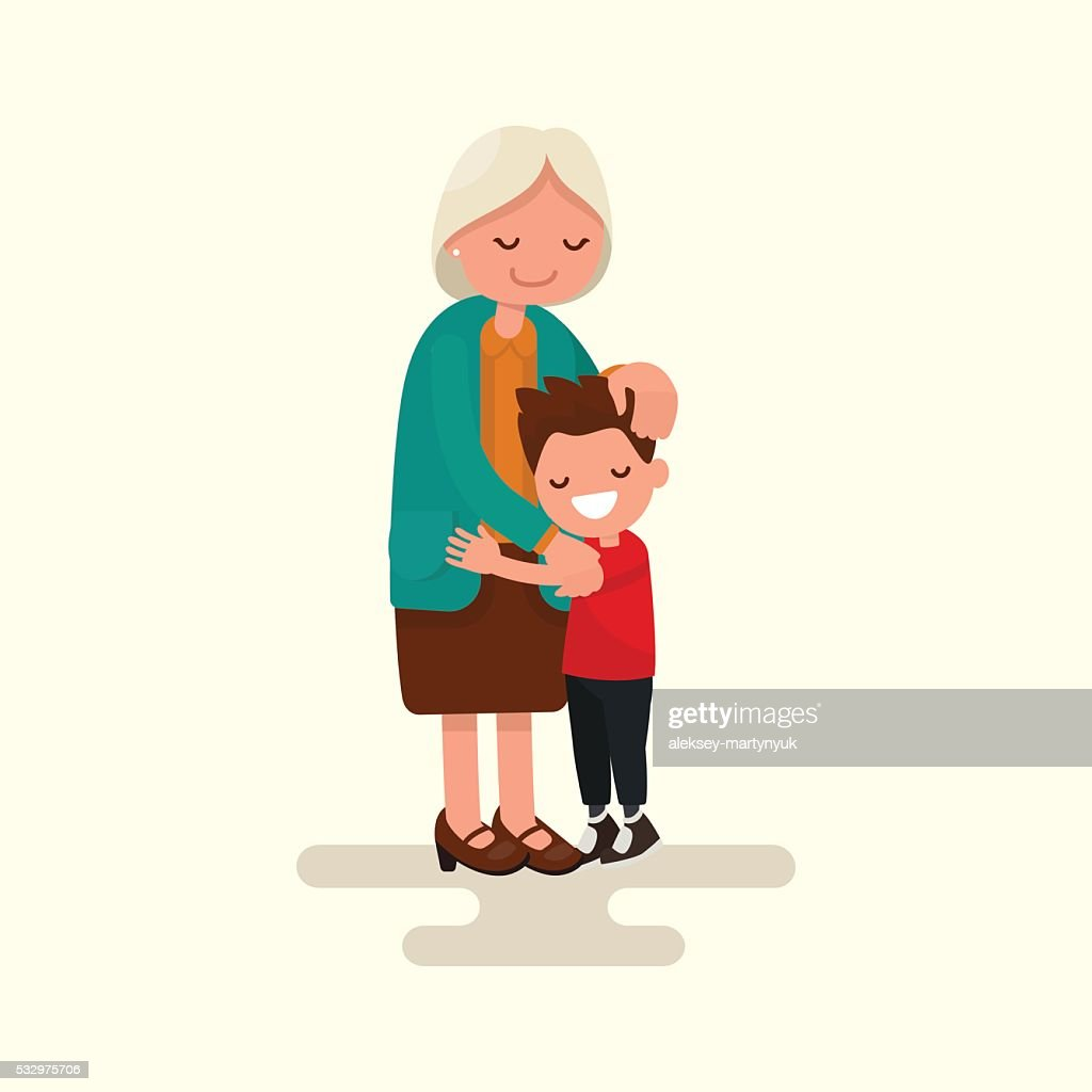 Grandson hugging his grandmother. Vector illustration