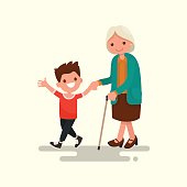 Grandson walking with his grandmother. Vector illustration