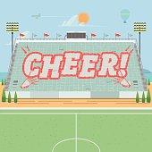 grandstand card stunts. cheer - vector illustration