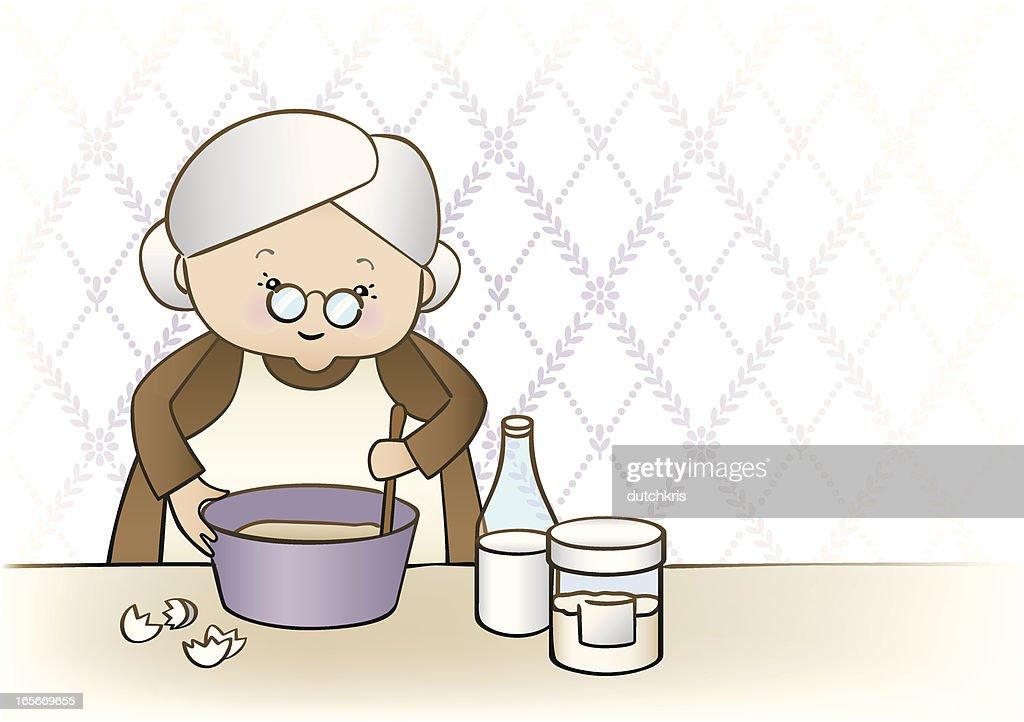 Granny Baking : stock illustration