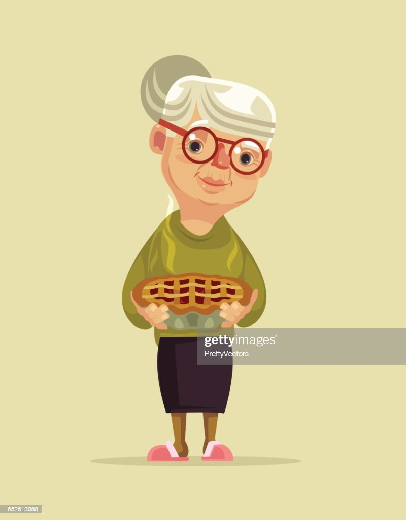 Granny character hold pie