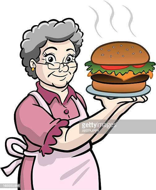 Granny WIth Giant Burger