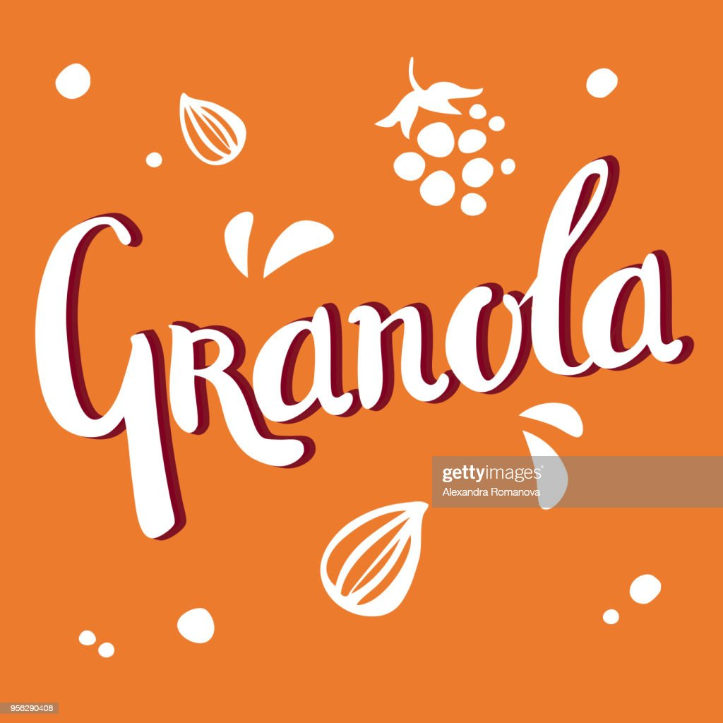 Granola lettering white vector logo design with seeds and shadow on orange background