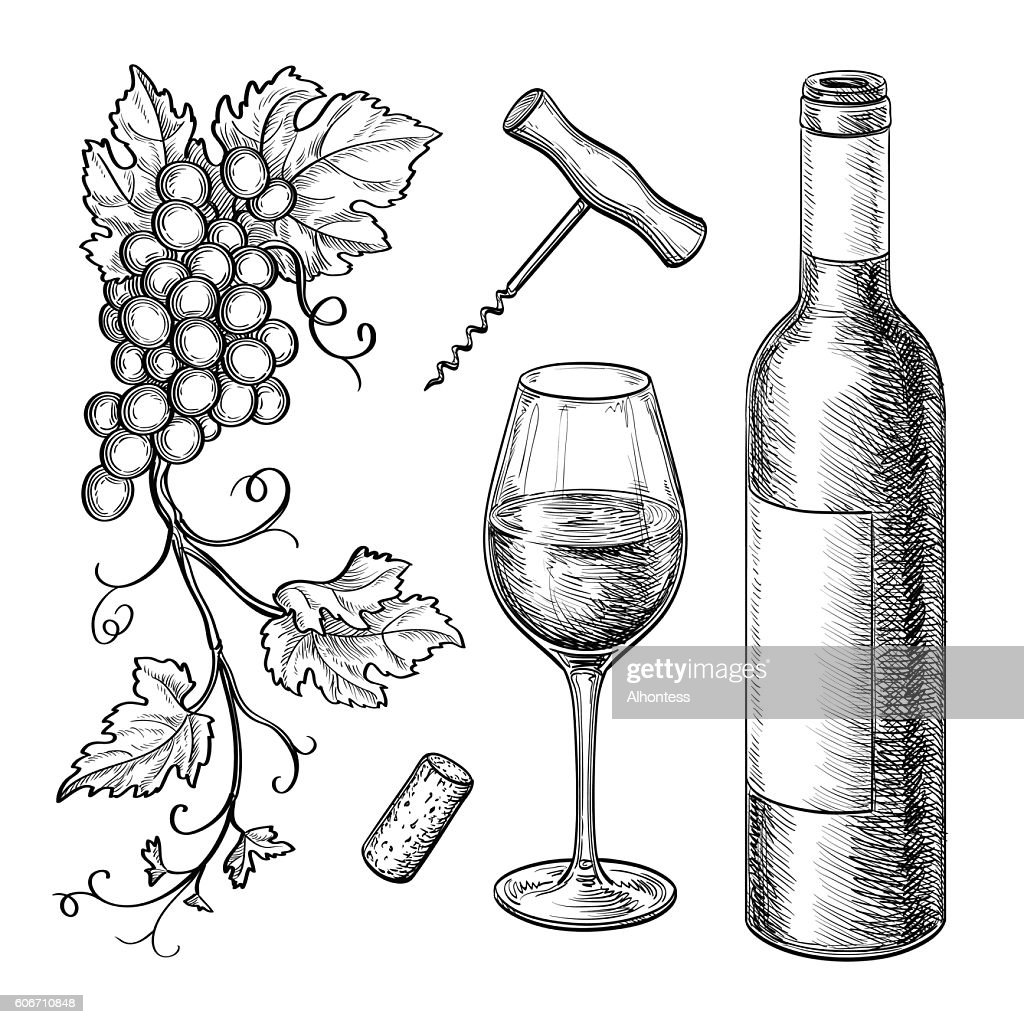 Grape branches, bottle, glass of wine.