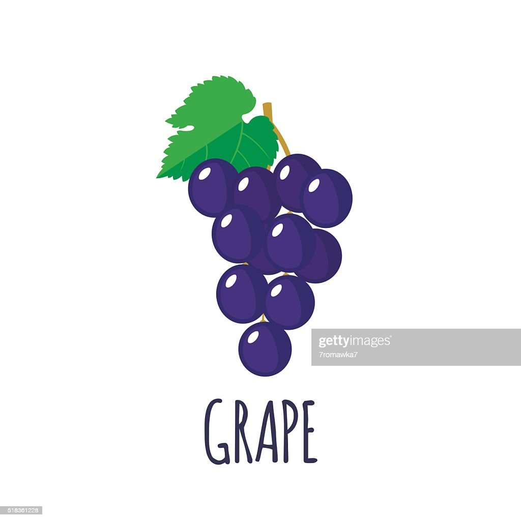 Grape icon in flat style on white background