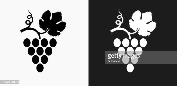 grape icon on black and white vector backgrounds - grape stock illustrations, clip art, cartoons, & icons