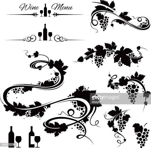 grape vines and wine icons - grape stock illustrations, clip art, cartoons, & icons