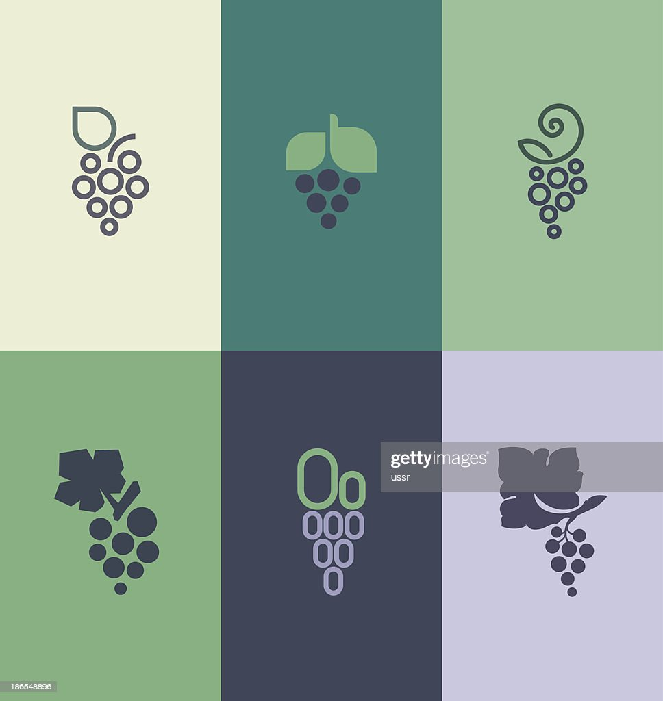 Grape with leaf. Logo templates set