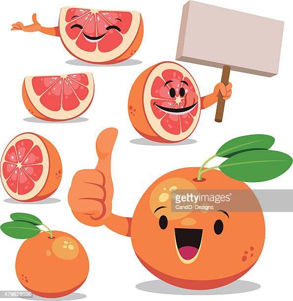 grapefruit cartoon set c - anthropomorphic foods stock illustrations, clip art, cartoons, & icons