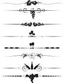 Grapes and Wine Divider Menu-element design Set in black silhouette