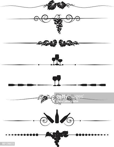 grapes and wine divider menu-element design set in black silhouette - grape stock illustrations, clip art, cartoons, & icons