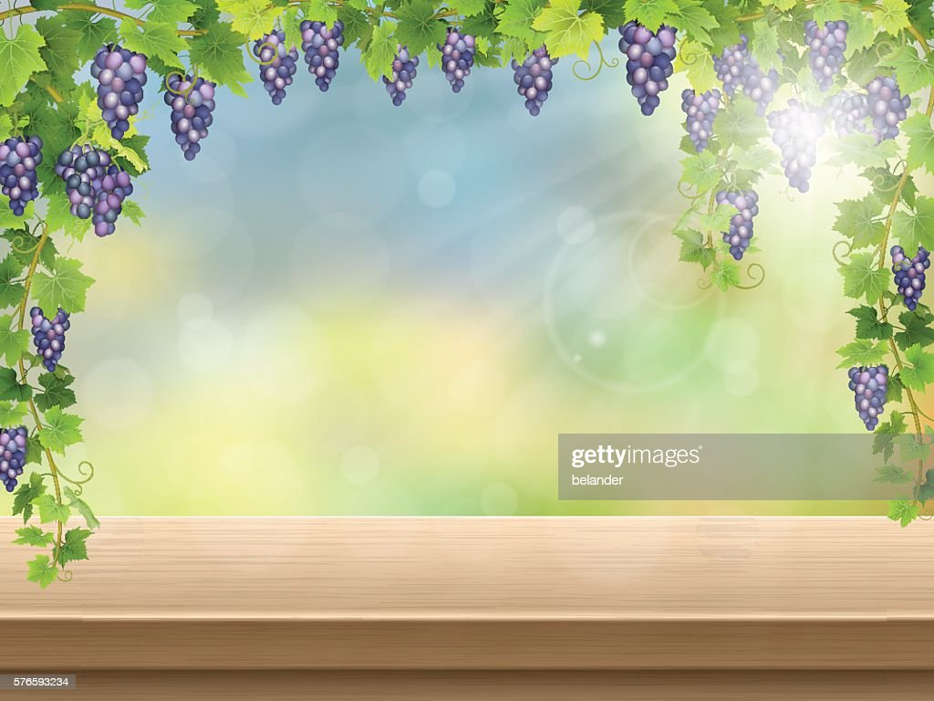 grapes on empty wooden deck