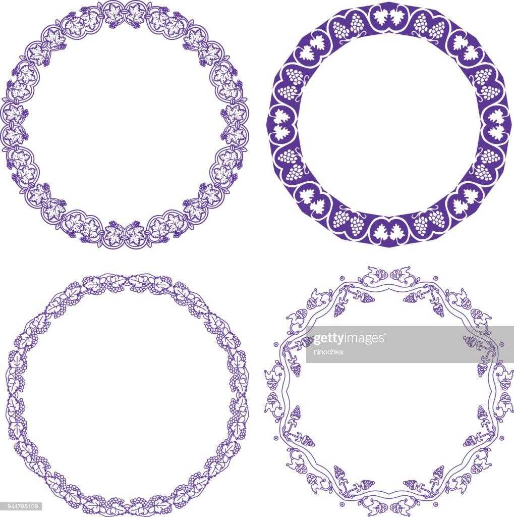 Grapes ornamental wreaths : Stock Illustration