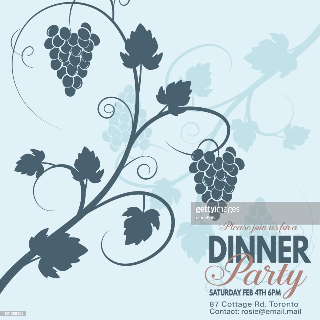 grapes wine dinner party invitation template vector art