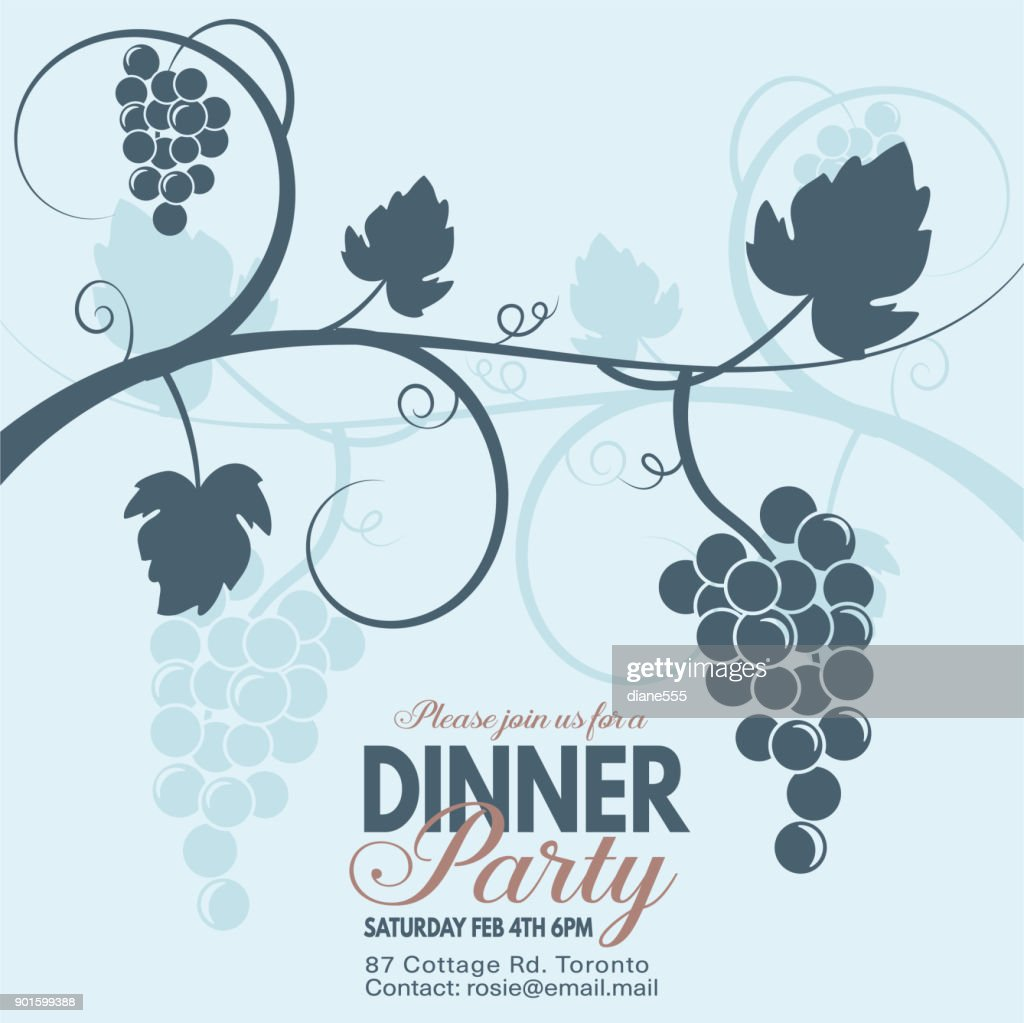 grapes wine dinner party invitation template stock illustration
