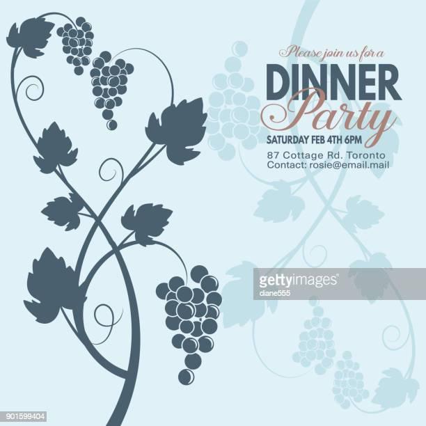ilustraciones, imágenes clip art, dibujos animados e iconos de stock de uva vino cena fiesta invitación plantilla - social grace