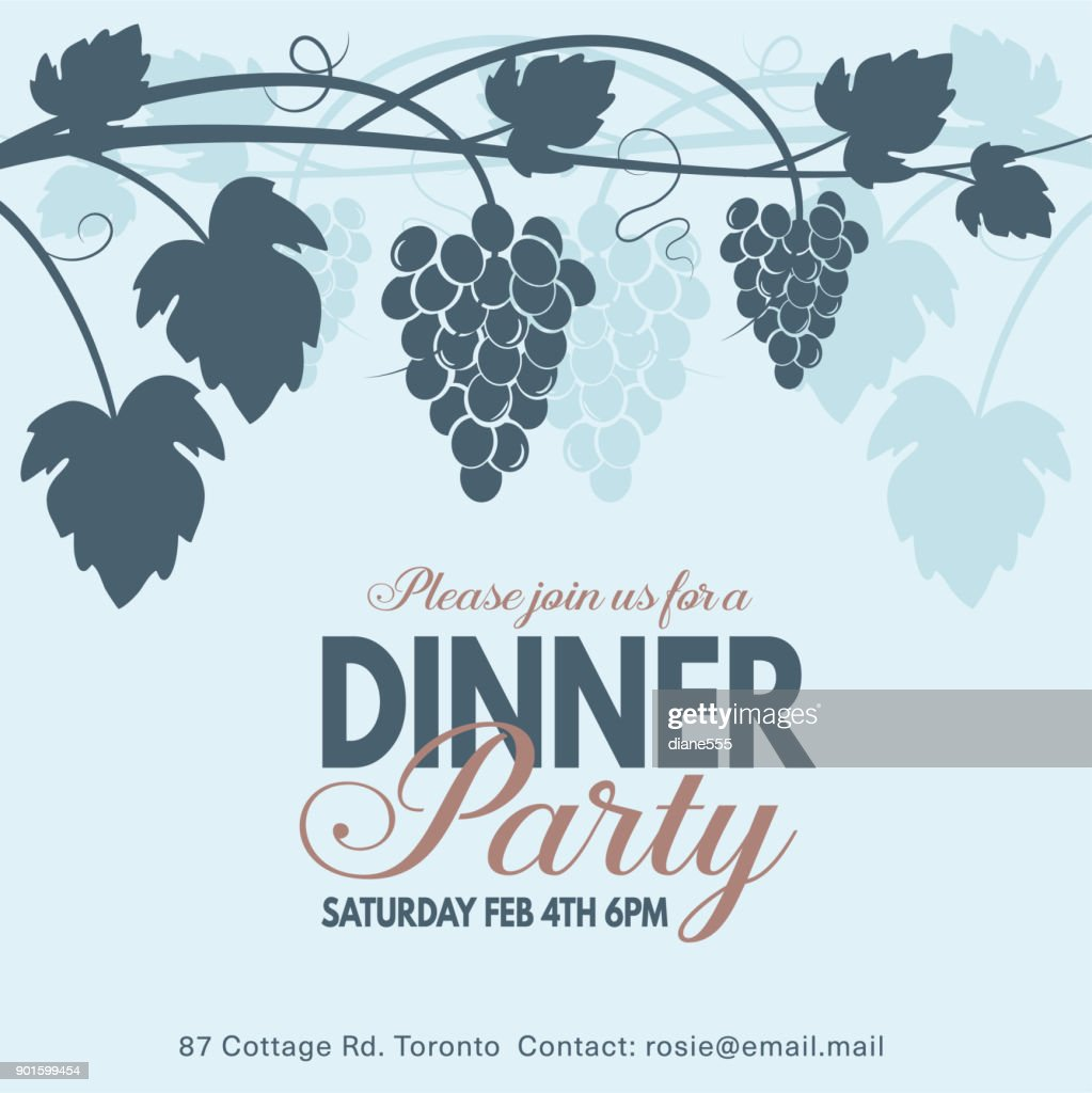 Grapes Wine Dinner Party Invitation Template Vector Art | Getty Images