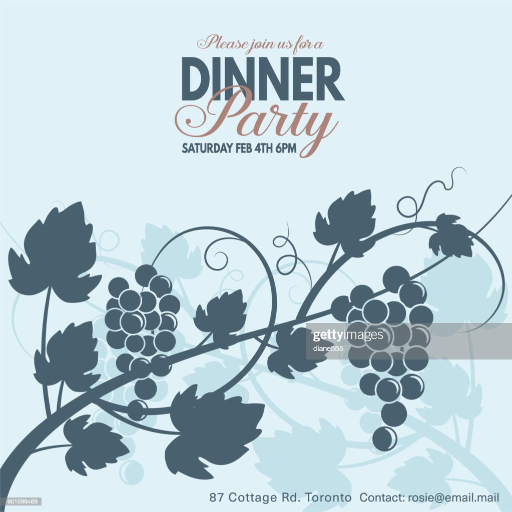 Grapes Wine Dinner Party Invitation Template Vector Art   Getty Images