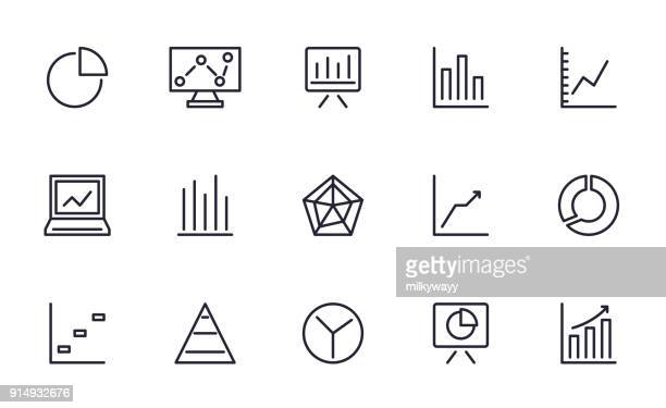 Graph and Chart icons set outline style