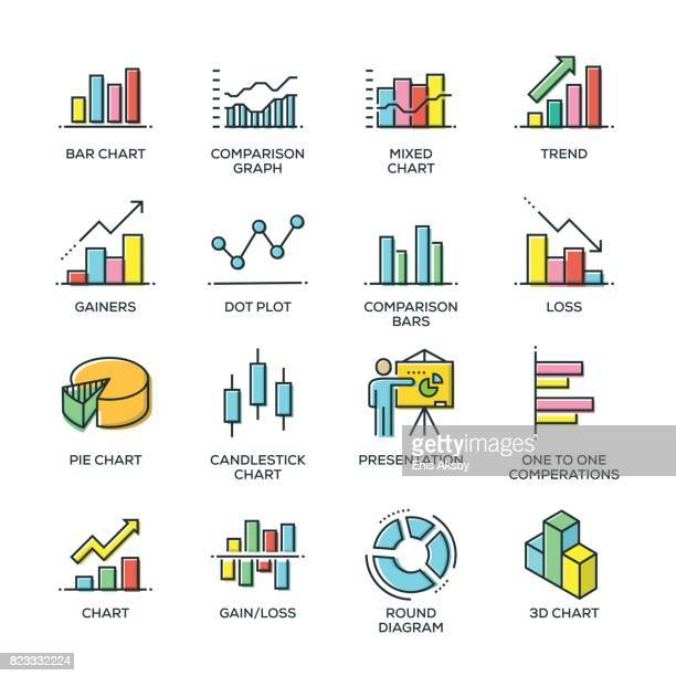 graph and diagram line icon set - accountancy stock illustrations, clip art, cartoons, & icons