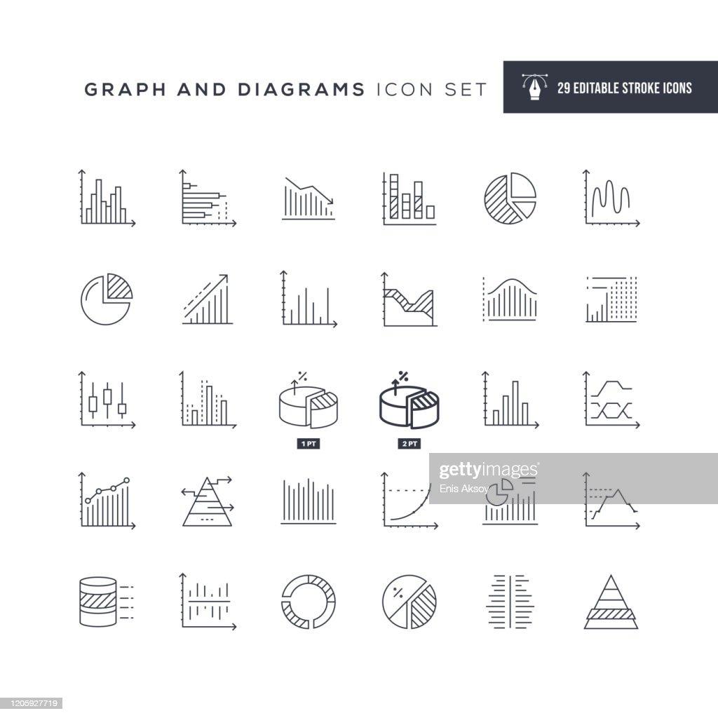 Graph und Diagramme Bearbeitbare Strichliniensymbole : Stock-Illustration