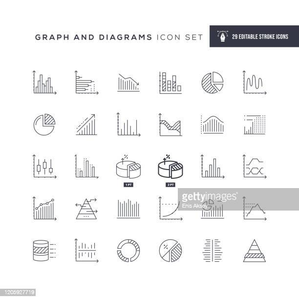graph and diagrams editable stroke line icons - graph stock illustrations