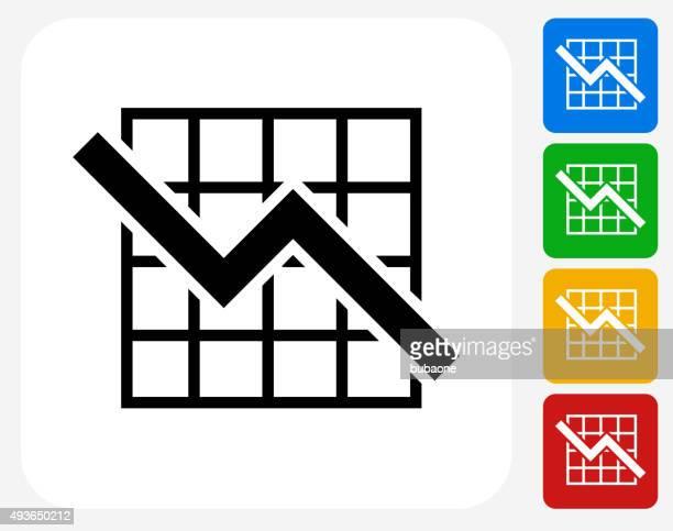 graph icon flat graphic design - stock market crash stock illustrations