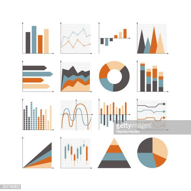 graph icon set - graph stock illustrations