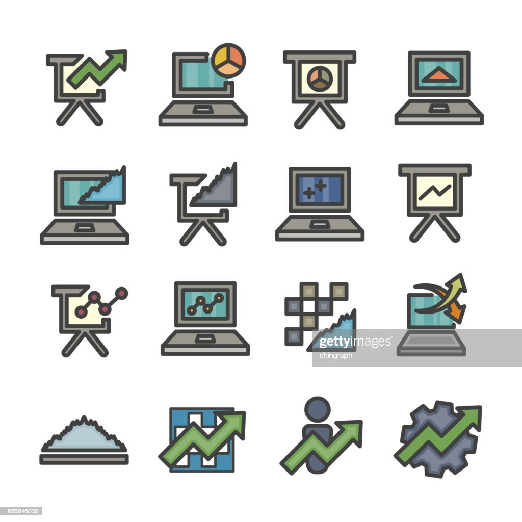 graph infographic data analysis chart computer line icon set vector