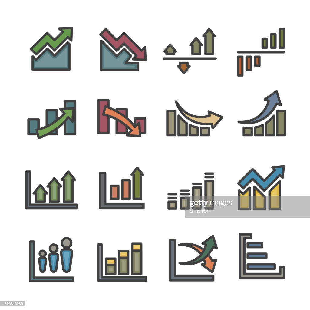 graph infographic data analysis line icon set vector